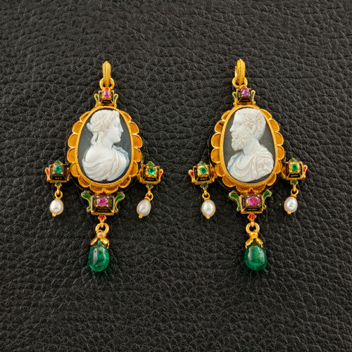 Castelani Estate Earrings, Cameo Pin & Pendant