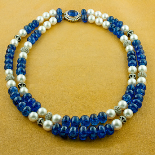 Tanzanite & Pearl Necklace with Diamond Accents