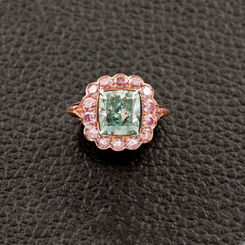 Blue Green & Pink Diamond Ring