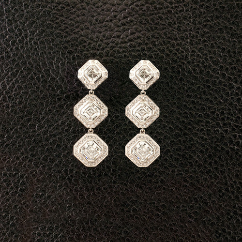 Asscher cut Diamond Dangle Earrings