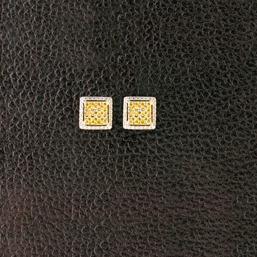 Yellow & White Diamond Square Earrings