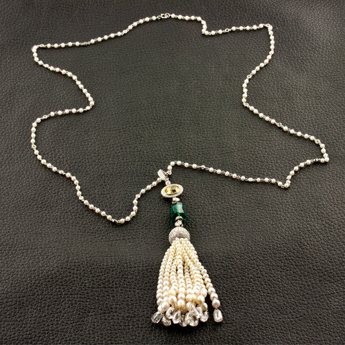 Diamond, Emerald & Pearl Tassel Necklace