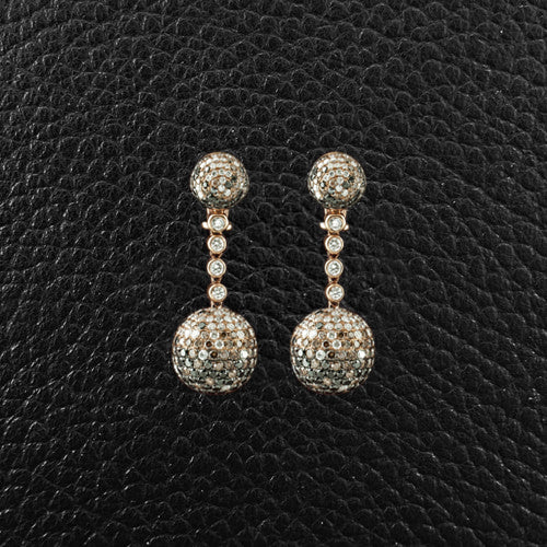 Black, Brown & White Diamond Dangle Ball Earrings
