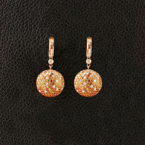 Orange & Yellow Sapphire Ball Earrings