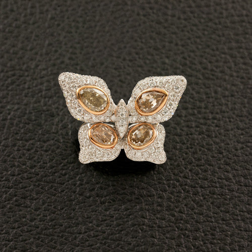 Brown & White Diamond Butterfly Ring