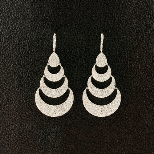 Diamond Half Moon Design Dangle Earrings