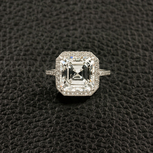 Square Diamond Engagement Ring with Halo