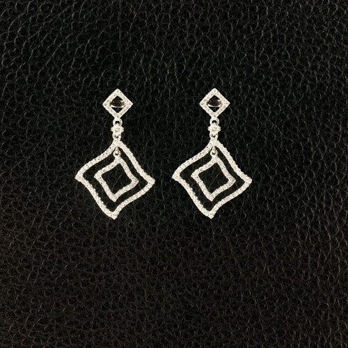 Diamond Stylized Square Dangle Earrings