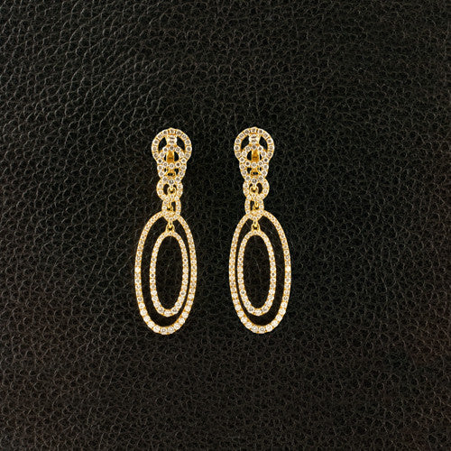 Ovals and Circles Diamond Dangle Earrings