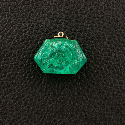 Carved Emerald Floral Pendant
