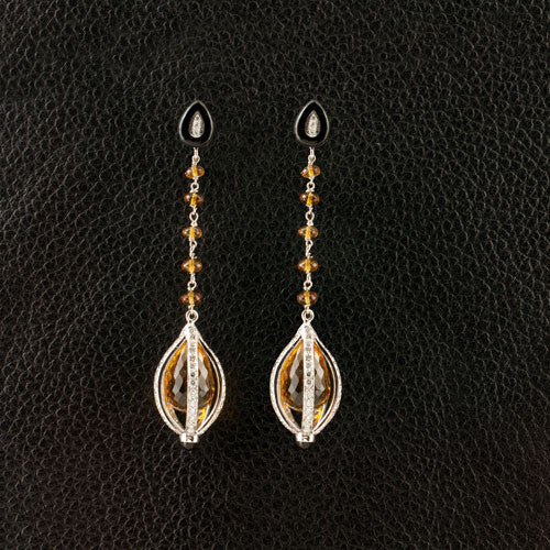 Citrine, Onyx & Diamond Dangle Earrings