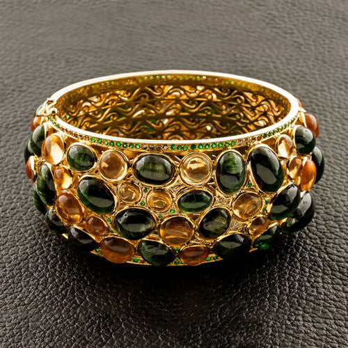 Citrine & Tsavorite Bangle Bracelet