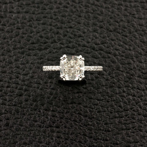 Cushion cut Diamond Engagement Ring with Round Diamonds