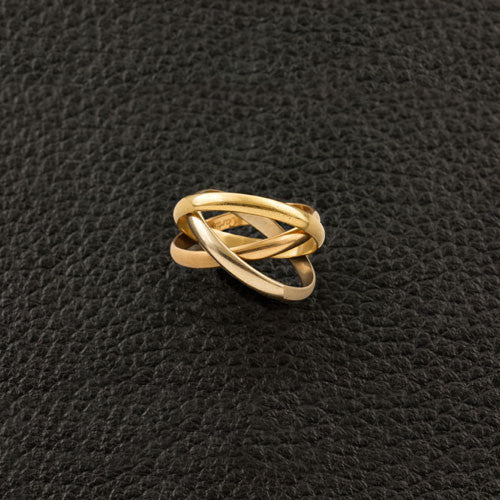 Tri-color Gold Cartier Estate Rolling Ring