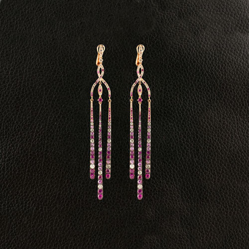 Multi-color Sapphire Dangle Earrings