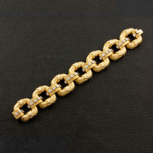 Gold Link & Diamond Estate Bracelet