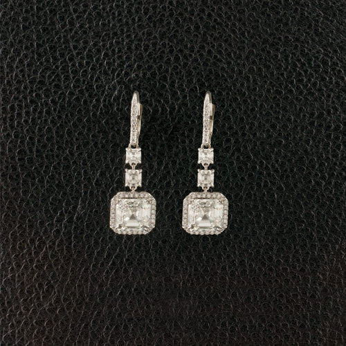 Asscher cut Diamond Estate Dangle Earrings