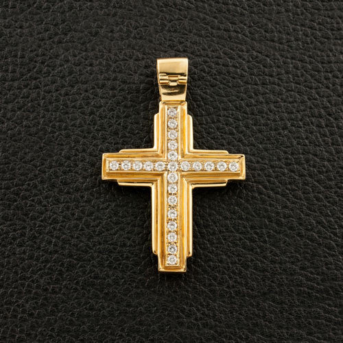Cross Pendant with Diamonds & Emeralds