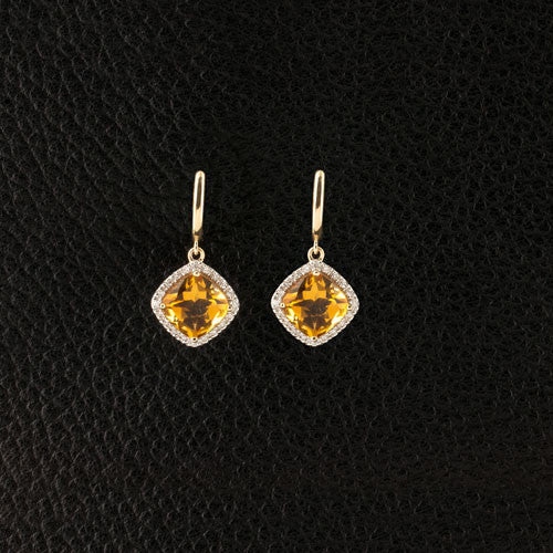 Citrine & Diamond Dangle Earrings