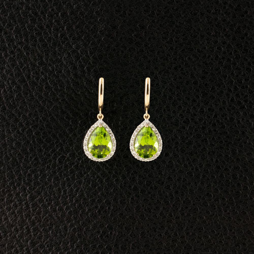 Peridot & Diamond Dangle Earrings