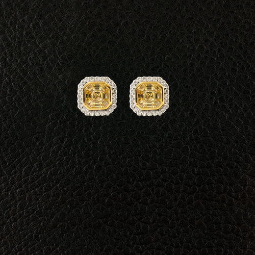 Yellow Sapphire & Diamond Earrings