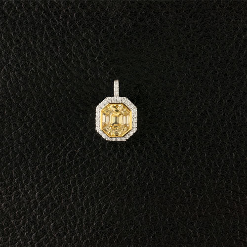 Octagonal Yellow & White Diamond Pendant