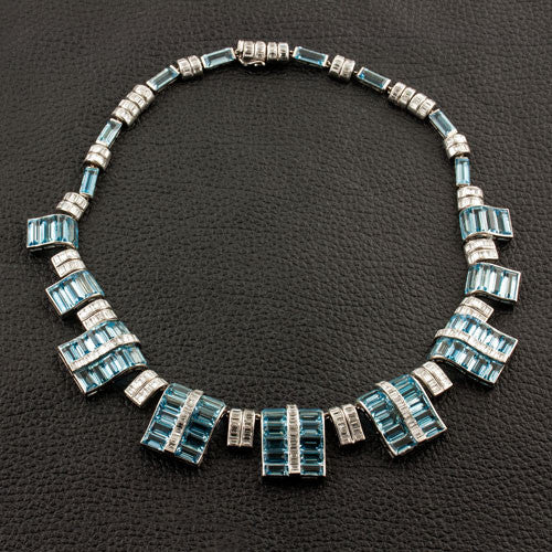 Art Deco Aquamarine & Diamond Estate Necklace