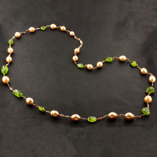 Golden South Sea Pearl, Orange Sapphire & Peridot Necklace