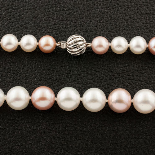 White & Pink South Sea & Kasumiga Pearl Necklace