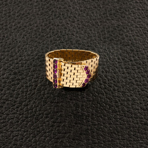 Ruby & Gold Buckle Estate Ring