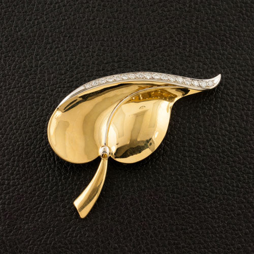 Gold & Diamond Estate Leaf Pin