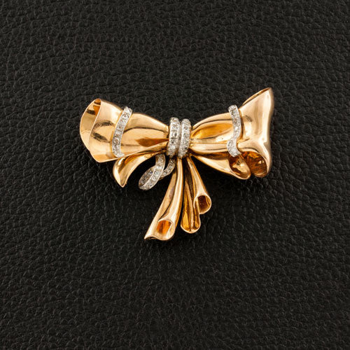 Gold & Diamond Estate Bow Pin