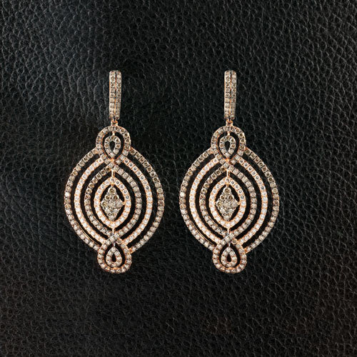 Brown & White Diamond Dangle Earrings
