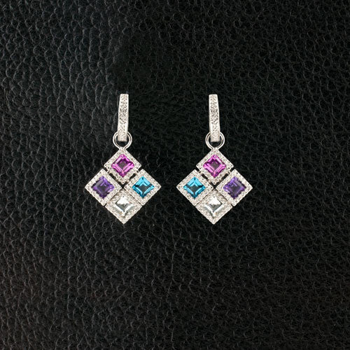 Diamond & Semi-precious Gemstone Dangle Earrings