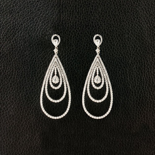 Triple Loop Dangle Diamond Earrings