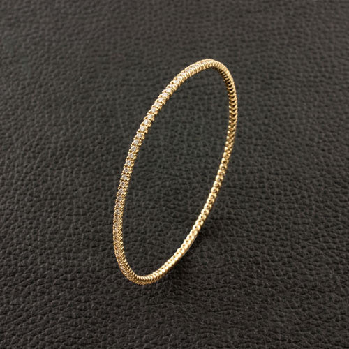 Slip-on Diamond Bangle Bracelet in Yellow Gold