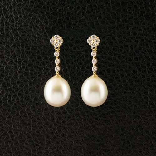 South Sea Pearl & Diamond Dangle Earrings