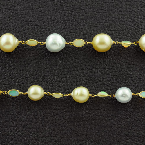 South Sea & Golden Pearl Necklace with Opals