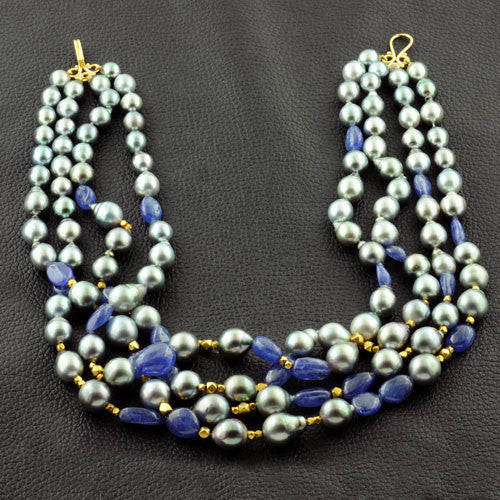 Tahitian Pearls & Tanzanite Necklace