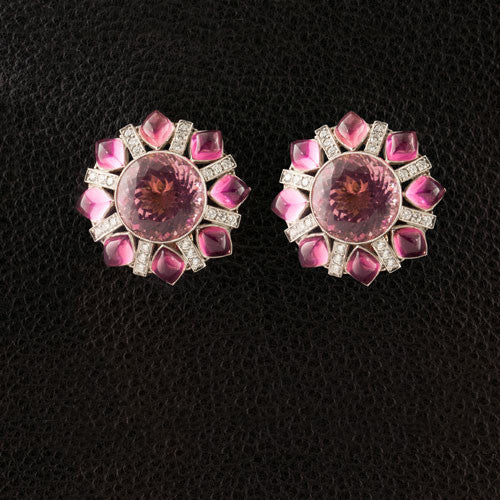 Pink Tourmaline & Diamond Button Estate Earrings