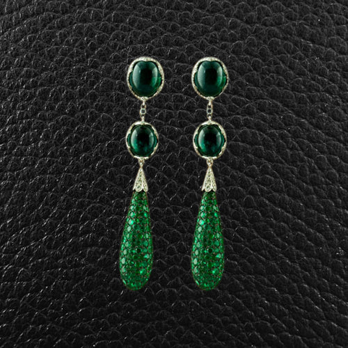 Emerald & Diamond Dangle Estate Earrings