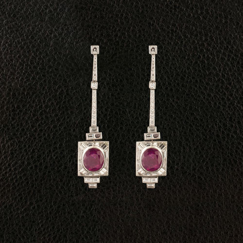 Ruby & Diamond Dangle Estate Earrings