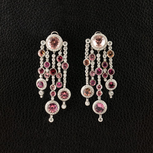 Pink Tourmaline & Diamond Dangle Estate Earrings