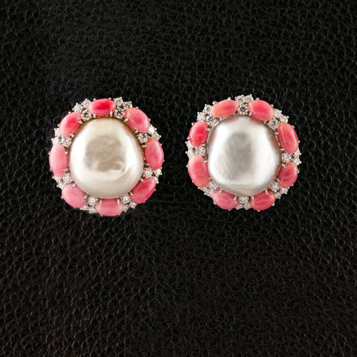 Natural Pearl & Diamond Estate Earrings