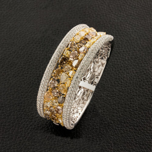 Brown, Yellow & White Diamond Bangle Bracelet