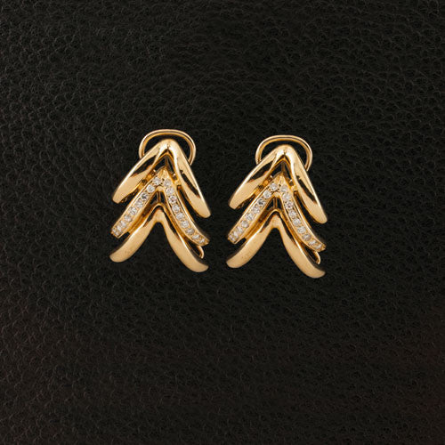 Chevron Style Diamond Estate Earrings
