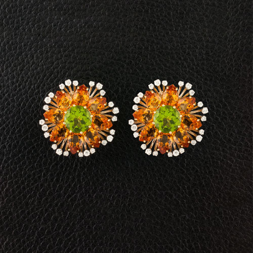 Peridot, Citrine & Diamond Earrings