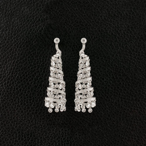 Cone shaped Diamond Dangle Earrings