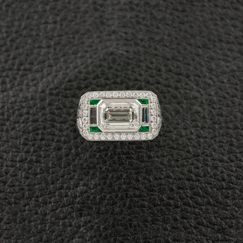 Diamond & Emerald Heirloom Style Ring