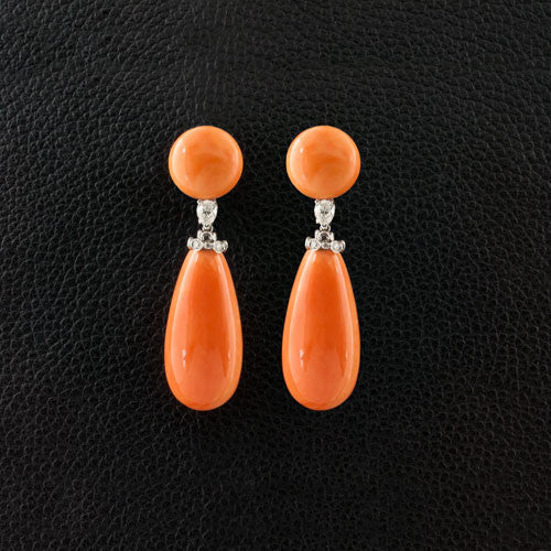 Coral & Diamond Dangle Earrings